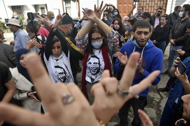 Manifestation de soutien à Alger au journaliste Khaled Drareni le 12 octobre 2020.