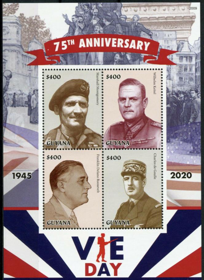 Un des nombreux blocs de timbres édités pour le 75e anniversaire de la fin de la seconde guerre mondiale. On retrouve ici Montgomery, Roosevelt, De Gaulle et l'Allemand Keitel, sur un bloc du Guyana.