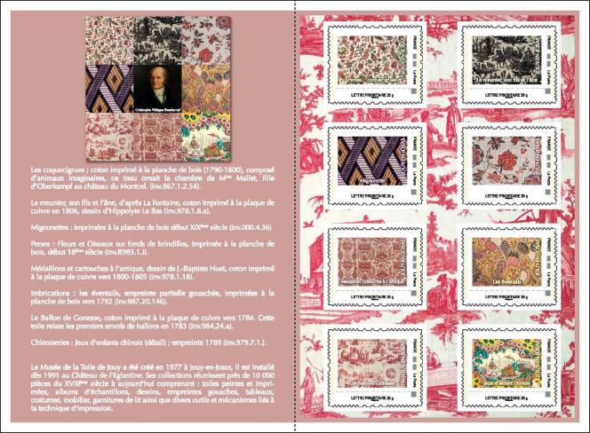 Carnet de timbres personnalisés consacré à la toile de Jouy, édité par l'Amicale philatélique de Jouy-en-Josas-Vallé-Plateau.