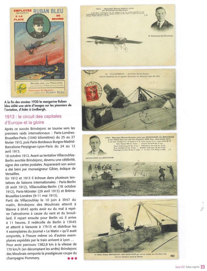 Le piloteMarcel Brindejonc des Moulinais (1892-1916), dans« Timbres magazine».