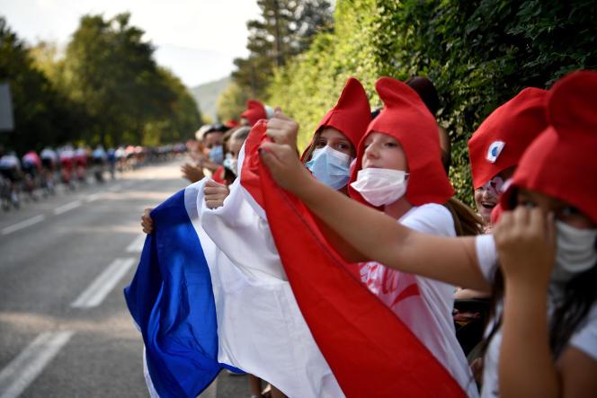 Le 15 septembre 2020, lors du 107e Tour de France entre la Tour-du-Pin et Villard-de-Lans.
