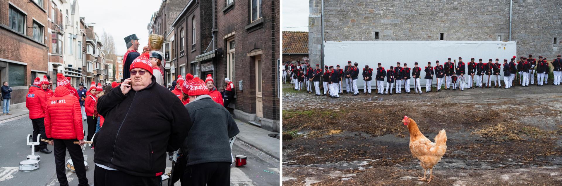 A gauche, le carnaval du Mardi gras. A droite, les hommes s'habillent en militaires du 19e siècle lors de la fête de Sainte-Rolende.Nicolas Portnoï