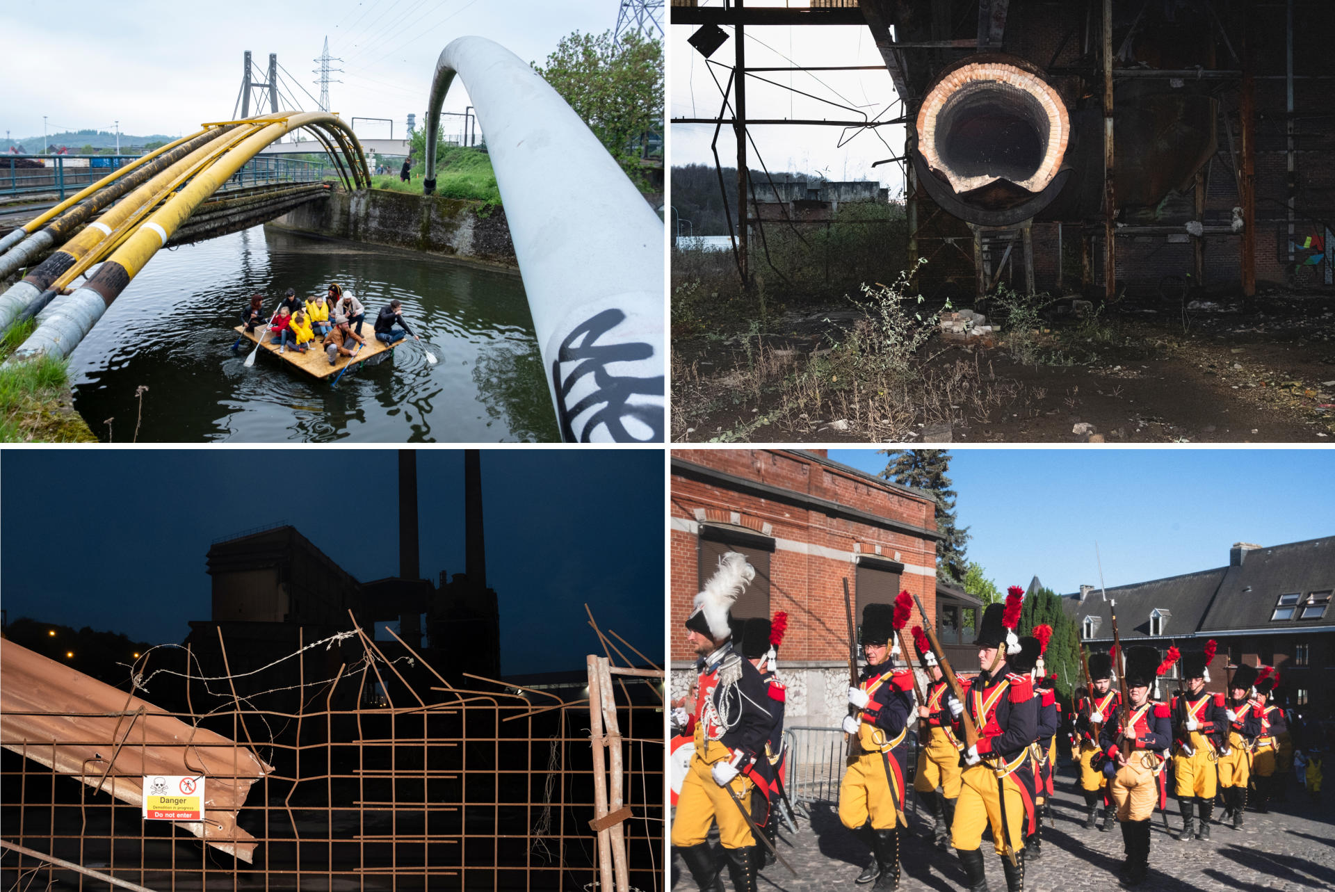 De gauche à droite et de haut en bas : Sur un canal, une embarcation en bouteilles plastique et bois navigue entre les pipelines. Une cheminée dans une friche industrielle. Une usine en ruine le long de la Sambre. La marche de Saint-Louis-de-Gonzague dans le quartier de Monceau-sur-Sambre.Nicolas Portnoï