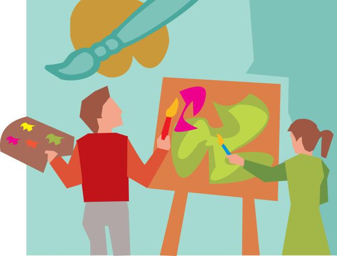 Représentation d'étudiants en art.