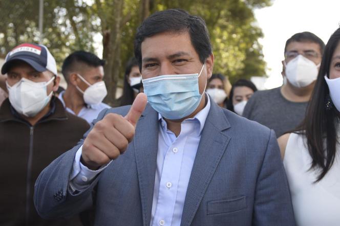 Le candidat à la présidentielle Andres Arauz, à Quito, en Equateur, le 7 février.