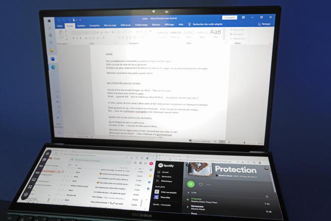 On peut afficher deux fenêtres sur l'écran secondaire, ici la messagerie Gmail et le service musical Spotify.