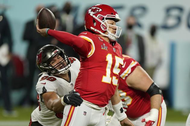 Le quarterback de Kansas City Chiefs Patrick Mahomes lors du match du Super Bowl le 7 février.