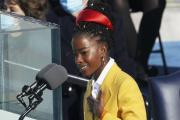 La poète Amanda Gorman, le 20 janvier, lors de l'investiture du président américainJoe Biden à Washington.