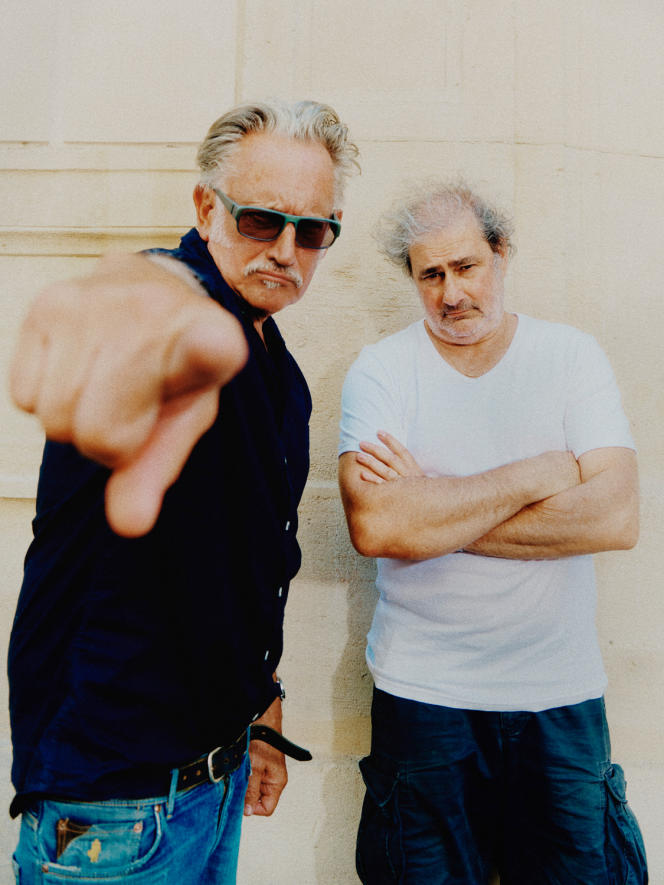 Benoît Delépine (à gauche) et Gustave Kervern, à Paris,en juin 2020.