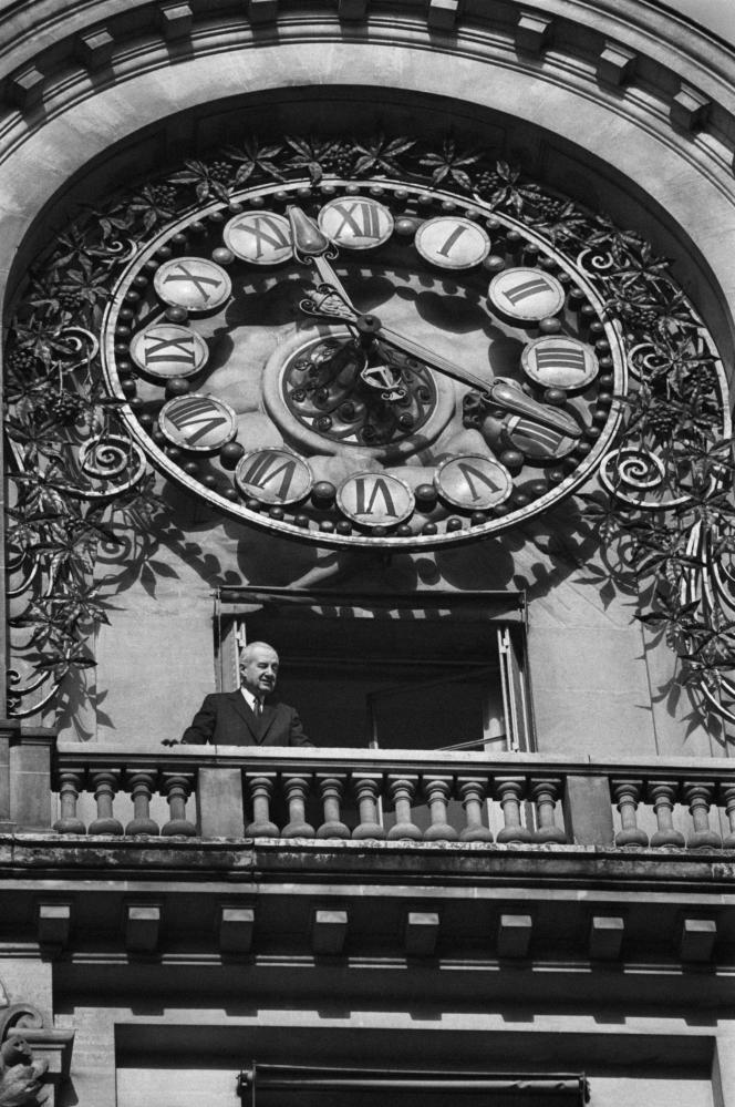Hubert Beuve-Méry, fondateur «Monde», au siège du journal à Paris en décembre 1978.
