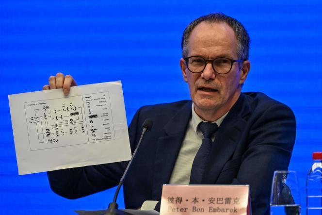 Peter Ben Embarek, le chef de la délégation de l'OMS qui a enquêté sur les origines de la pandémie de Covid-19, le 9 février à Wuhan (province chinoise du Hubei).