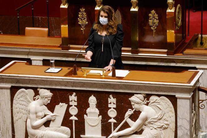 La ministre déléguée chargée dela citoyenneté, Marlène Schiappa, à l'Assemblée nationale à Paris, le 9 février.