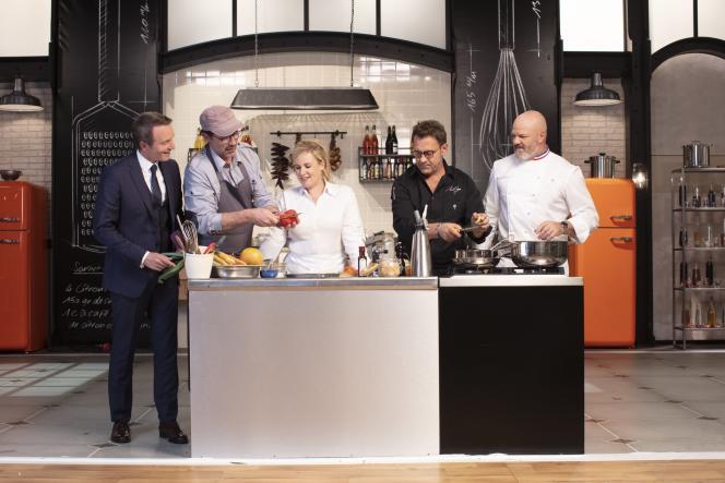 Stéphane Rotenberg, Paul Pairet, Hélène Darroze, Michel Sarran et Philippe Etchebest. Sur le tournage de la 12e édition de« Top Chef».