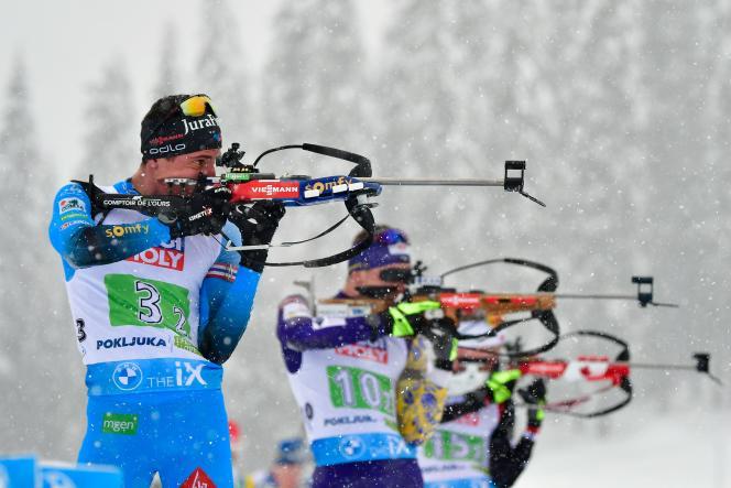 Le leader des Bleus, Quentin Fillon Maillet – ici le 10 février –, aura à cœur, lors des championnats du monde de Pokljuka, de sauver une saison décévante jusque-là.
