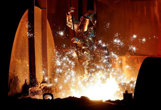 Dans l'aciérie ThyssenKrupp de Duisbourg (Rhénanie-du-Nord-Westphalie, ouest de l'Allemagne), le 28 janvier 2019.