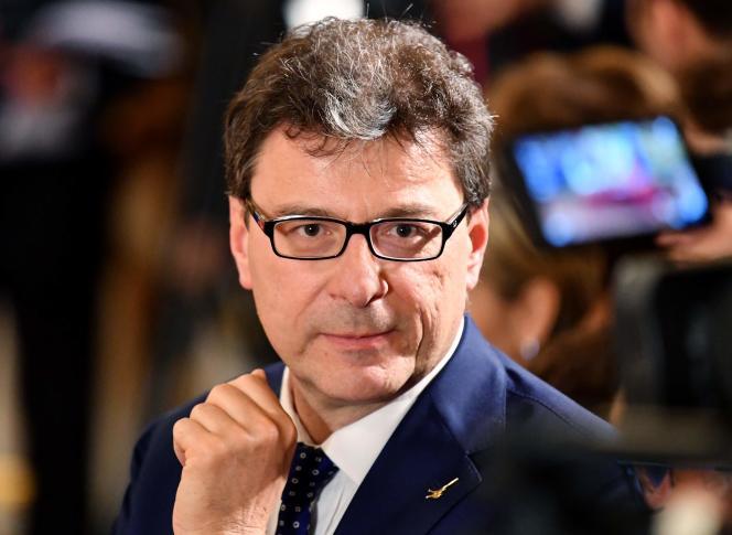 Le nouveau ministre italien du développement économique,Giancarlo Giorgetti, membre de la Ligue, ici en 2018.