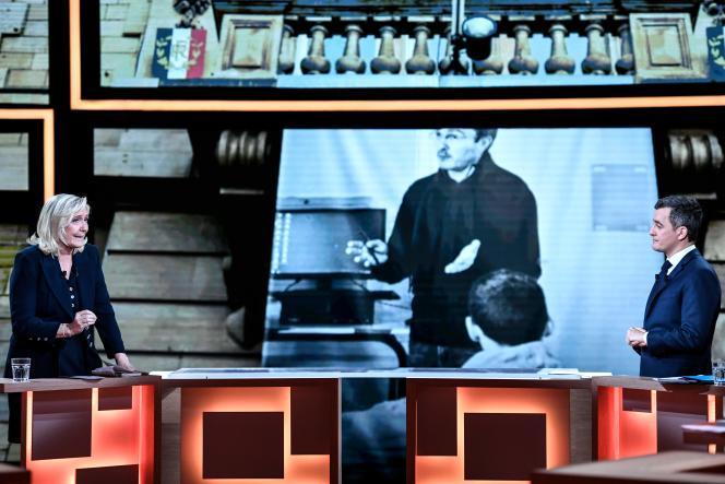 Lors du débat entreMarine Le Pen etGérald Darmanin sur le plateau de «Vous avez la parole», sur France 2, le 11février.