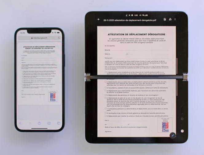 La lisibilité des PDF est exceptionnelle sur le Duo, comparativement à un smartphone classique comme l'iPhone 12.