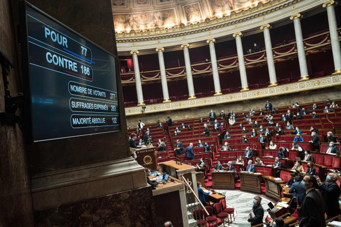 Résultats du vote concernant l'article 21 et ses amendements, à l'Assemblée nationale, le 11 février.