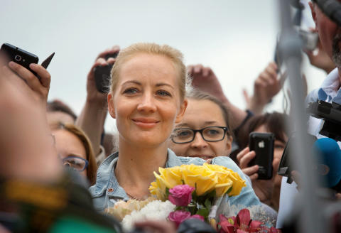 DB367W Yulia Navalnaya, wife of Russian opposition politician Aleksei Navalny, accompanying her husband upon his return to Moscow