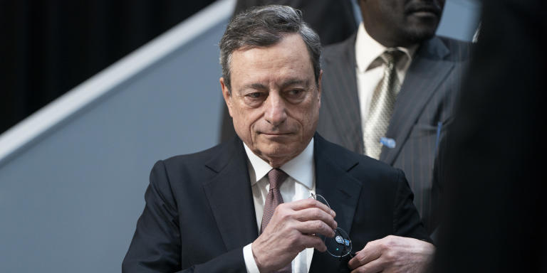 Mario Draghi, president of the European Central Bank (ECB), arrives for an International Monetary Fund (IMF) governors group photo at the spring meetings of the International Monetary Fund (IMF) and World Bank in Washington, D.C., U.S., on Saturday, April 13, 2019. The International Monetary Fund warned governments not to rock the boat withtrade warsand other disruptions at a time when the global economy is already sailing through choppy waters. Photographer: Joshua Roberts/Bloomberg via Getty Images