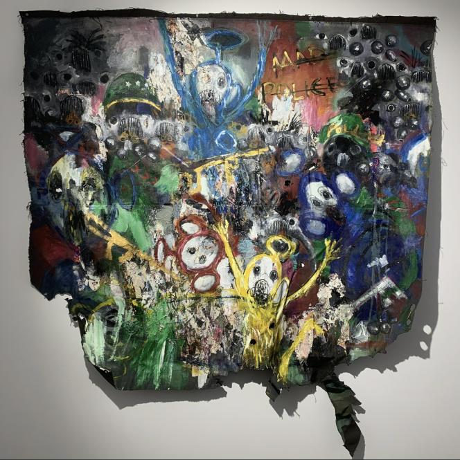 « Mad Police», de Sejiro Avoseh (2020). Série «Abuse of Innocence». Techniques mixtes sur toile (168 cm x 156 cm).