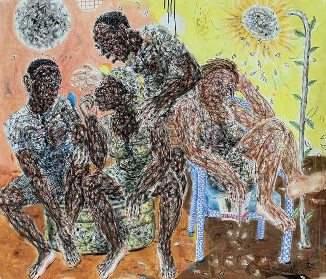 « La lectrice», de Salifou Lindou (2020).Pastel sur papier (130 cm x 150 cm).