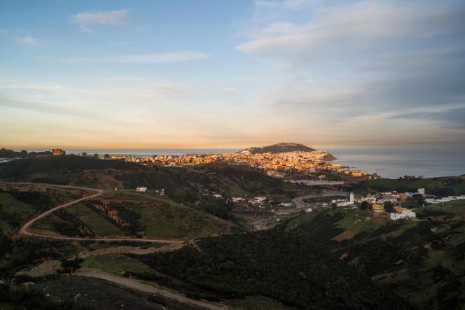 L'enclave espagnole de Ceuta, le13 février 2021. Située en face de la péninsule ibérique, sa frontière directe avec le Maroc a été fermée en mars 2020 à cause du Covid-19.