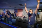 Des membres de la NASA, à Passadena (Californie), le 18février 2021.