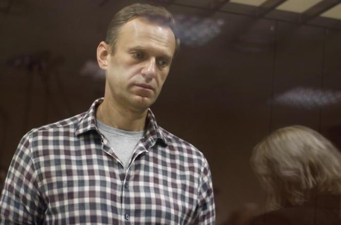 L'opposant russe Alexeï Navalny durant son procès, à Moscou, en Russie, le samedi 20 février 2020.