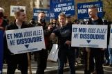 Des membres du groupuscule d'extrême droite Génération identitaire manifestentcontre leur dissolution,à Paris, le 20 février.