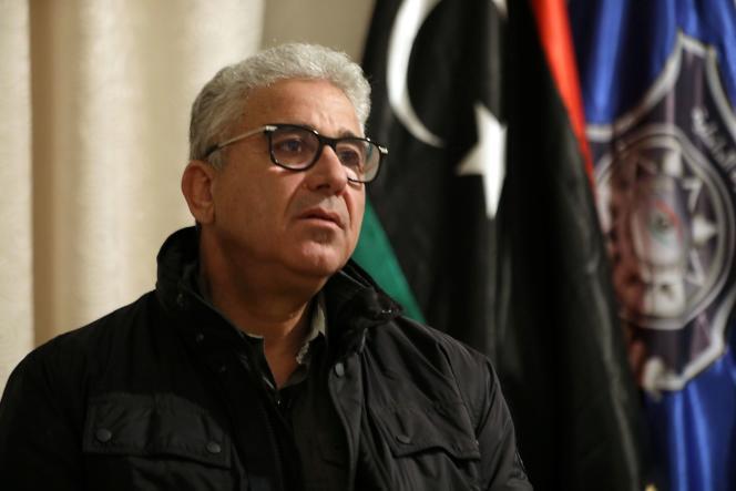 Le ministre de l'intérieur libyen, Fathi Bachagha, à Tripoli, le 21 février 2021.