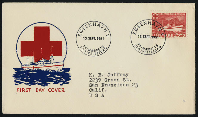 Timbre du Danemark sur le navire-hôpital «Jutlandia» en 1951.