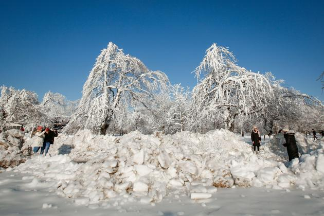 Paisaje congelado en Niagara Falls State Park, EE. UU. El 21 de febrero de 2021.
