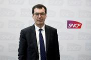 Jean-Pierre Farandou, PDG de la SNCF, en conférence de presse au siège de la société à Saint-Denis (Seine-Saint-Denis), le 28 février 2020.