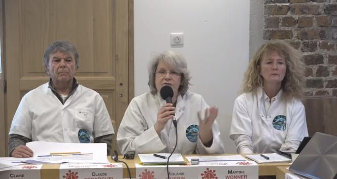 Claude Escarguel, Violaine Guérin et Martine Wonner, trois des piliers du collectif Coordination santé libre, lors d'une conférence début février 2021.
