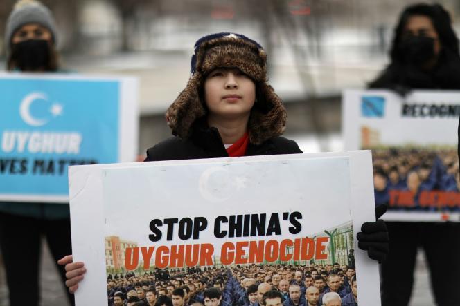 Une manifestation en soutien aux Ouïgours, à Washington D.C., le 19 février 2021.