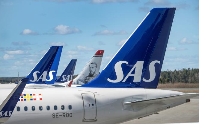 Des avions de SAS, à l'aéroport d'Arlanda, au nord de Stockholm, en Suède, le 9avril2020.
