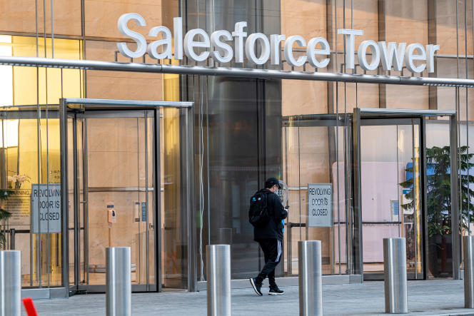 L'entrée de la tour Salesforce, à San Francisco, le 23 février.