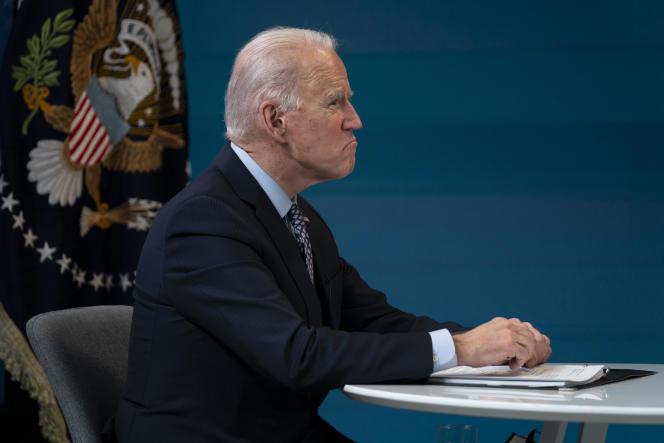 Le président américain Joe Biden, lors d'une réunion virtuelle de l'Association nationale des gouverneurs, le 25 février à Washington.
