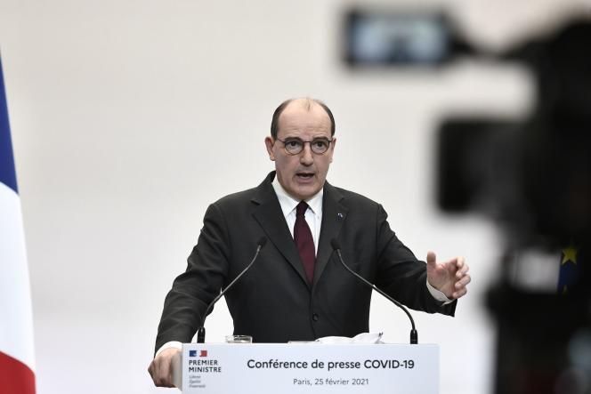 Le premier ministre, Jean Castex, fait un point sur la pandémie, le 25 février, à Paris.