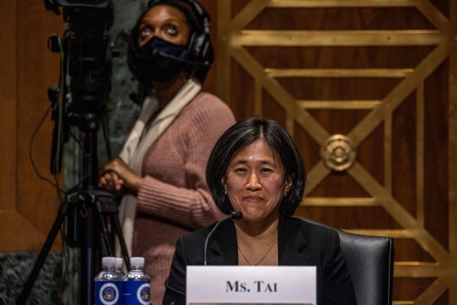 Katherine Tai, candidate désignée au poste de représentante au commerce des Etats-Unis, lors de son audition devant la commission des finances du Sénat, à Washington, le 25 février 2021.