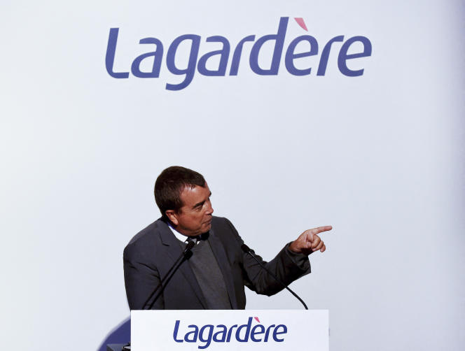 Arnaud Lagardère during a press conference, in Paris, March 13, 2019.