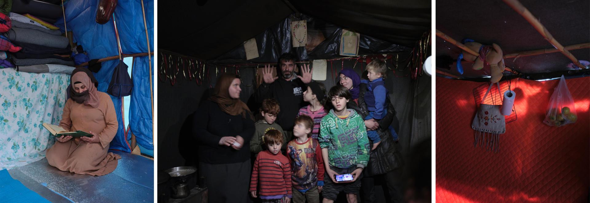 De gauche à droite : 1- Hanan Nasa, de Syrie, enceinte de son deuxieme enfant, lit dans sa tente. 2-Neuf des dix membres de la famille Adami, de Syrie, dans leur maison de fortune. 3- Intérieur d'une tente. Les 18 et 19 févrierà Samos.