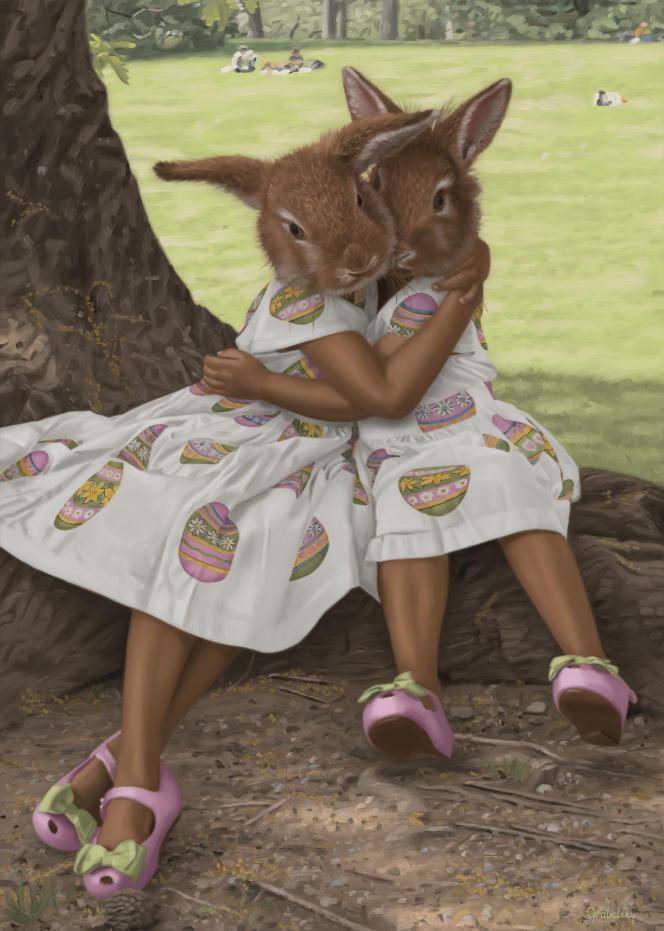 « Cadbury Bunnies», de Matthew Grabelsky, huile sur toile, 2020.