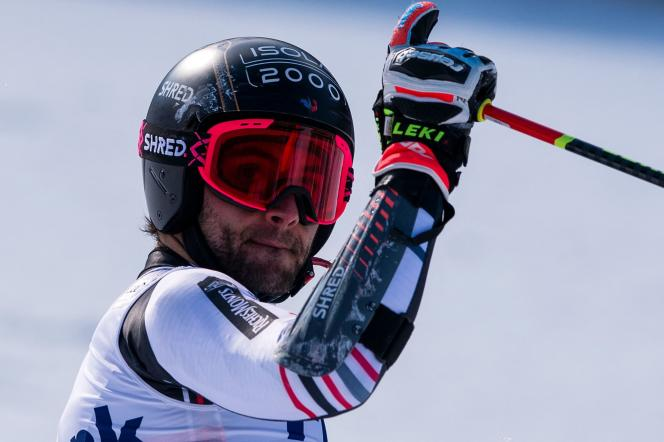 Mathieu Faivre in the arrival area of the giant in Bansko (Bulgaria), Sunday February 28, 2021.