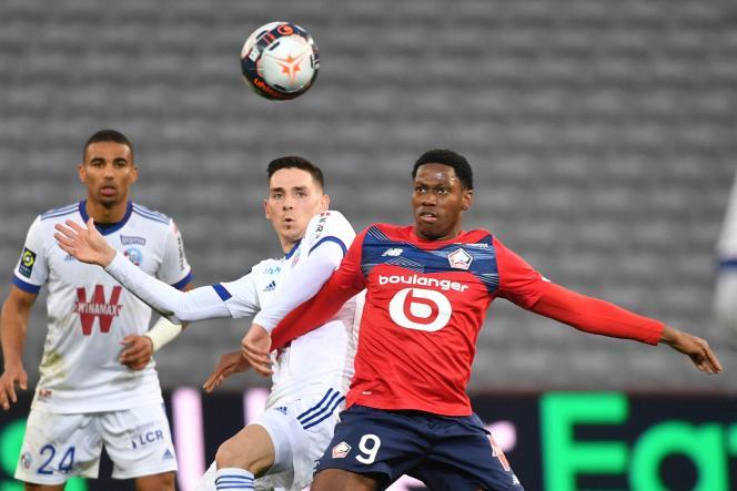 L'attaquant Jonathan David lors du match de Ligue 1 entre Lille et Strasbourg, le 28février 2021 au Stade Pierre-Mauroy.