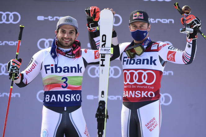 Mathieu Faivre and Alexis Pinturault at the end of the race, in Bansko (Bulgaria), February 28, 2021.