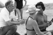Claude Sautet, Romy Schneider et Sami Frey sur le tournage de «César et Rosalie», en 1972.