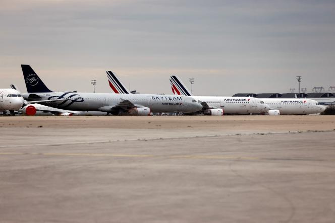 Avions Air France et Skyteam, stationnés à l'aéroport de Roissy, en novembre 2020.